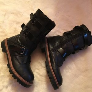 Aldo Black Leather buckle up mid calf boots size 8